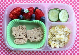 Hello Kitty sandwiches, parm pasta, berries, cucumbers in EasyLunchboxes bento lunch | by anotherlunch.com