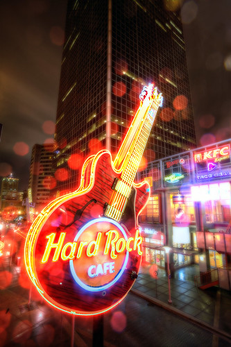 street red music rain rock cafe colorful downtown bright guitar kentucky hard louisville hdr