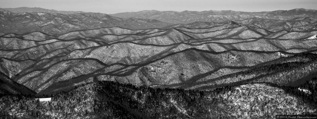 Ridgelines With Snow Covered Mountains Along Blue Ridge Pa