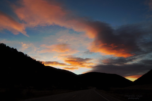 road morning trees sky mountains silhouette clouds sunrise landscape colorado hills thegalaxy
