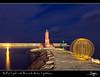 Ball of Light with Benicarló Harbor Lighthouse by SVA1969