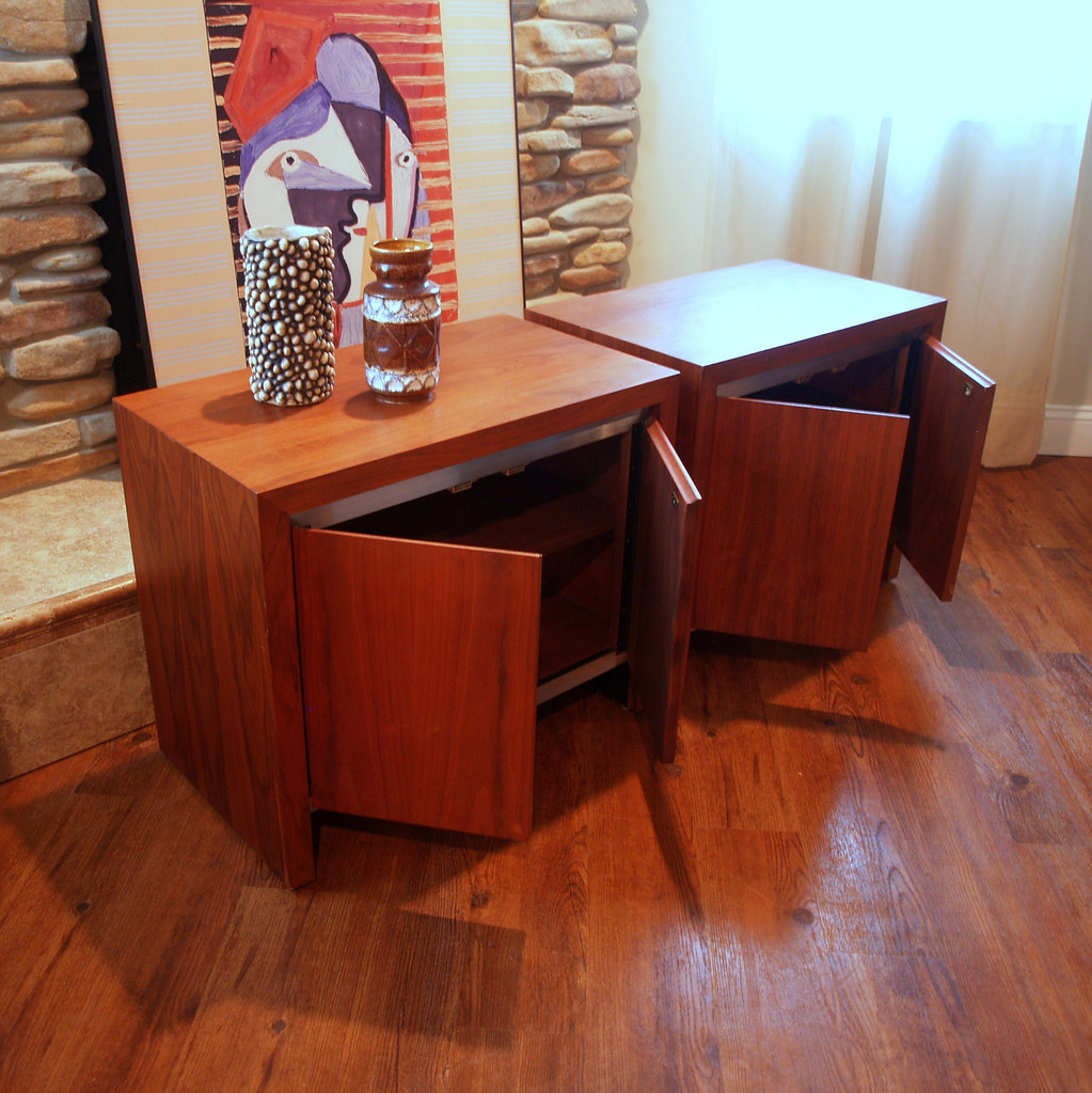Mid Century Modern Vintage Walnut Cabinets Pair Of 1960s A