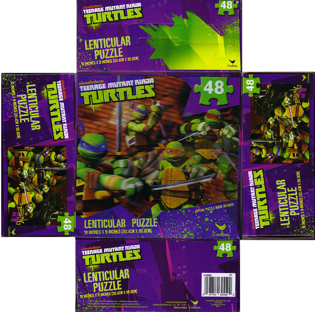 CARDINAL :: Nickelodeon TEENAGE MUTANT NINJA TURTLES - 48 Piece Lenticular Puzzle ..box i (( 2012 )) by tOkKa