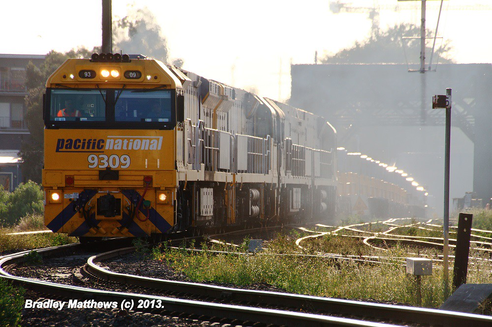9309-9308-NR13-NR21 on 6WP2  Steel Train to Melbourne (later to Perth) at Sims St Junction (5/4/2013) by Bradley Matthews