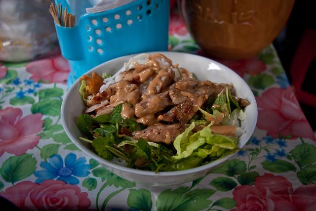 Peanut Sauce Pork Noodle Dish at Kon Tum Market - Kon Tum, Vietnam
