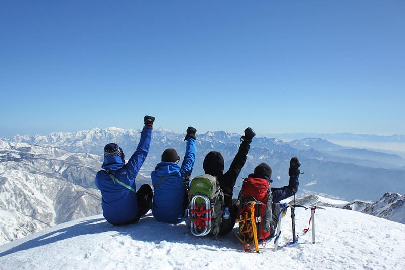 唐松岳 雪山登山の集合写真