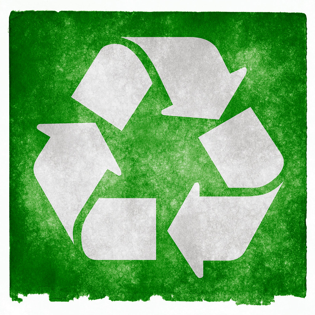 Recycling Grunge Sign Grunge Textured Recycling Symbol On