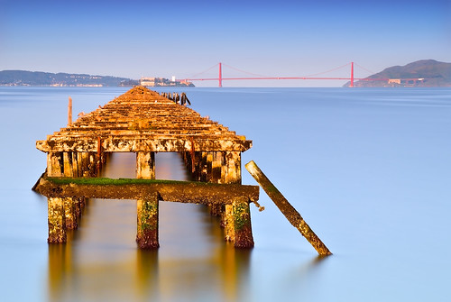 sanfrancisco california longexposure morning blue light red color reflection water sunrise landscape gold bay berkeley nikon explore goldengatebridge bayarea waterscape berkeleypier oldpier explored davidshield