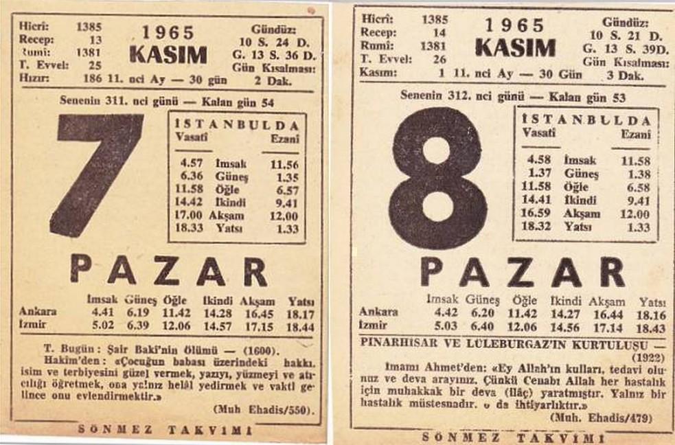 7-8-KASIM-1965-PAZAR-HATALI-TAKVIM-YAPRAGI | Erecep | Flickr