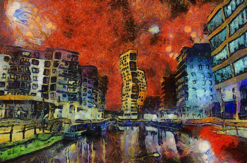 city uk england urban colour reflection digital buildings scarlet painting stars town artwork strokes vibrant yorkshire central leeds magenta style brush canvas oil impressionism environment vangogh waterway generated bold algorithm starrynight vincentvangogh clarencedock