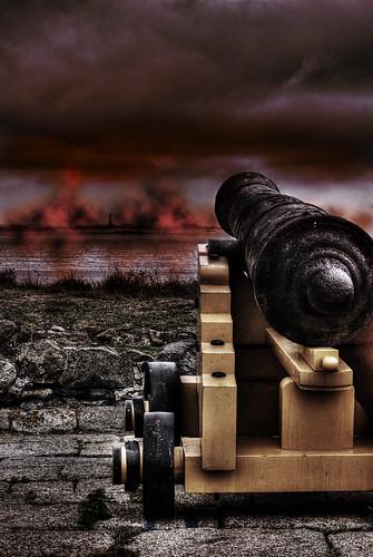 lighthouse fire war fort battery cannon conflict guernsey hanois hss saumarez photomatix tonemapped tonemap