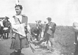 Pipers & Hurlers marching to Fontenoy on the 1910 hurling tour to Belgium. Cork wore green, Tipperary blue.
