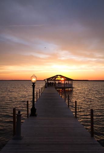 light sunset sky sun west water beautiful clouds island bay dock peaceful bayside oceancity fagers