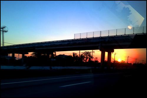 sunset evening highway bangkok 35degrees