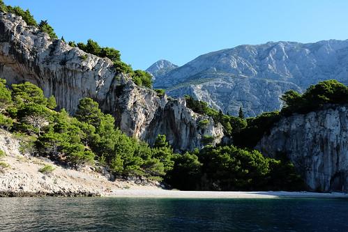 beach croatia makarska cliff adriatic nugal