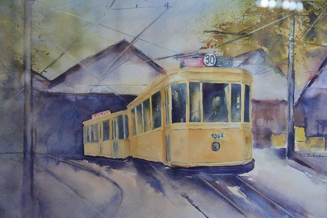 Aquarelle au musée du tram.