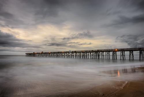 ocean longexposure sunset usa cloud reflection beach water weather night landscape pier dock lowlight florida cloudy shore centralflorida flaglerbeach architectureandbuildings