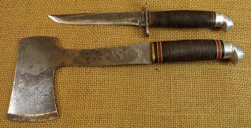 RD14019 Vintage Western Knife & Hatchet Combo Boulder, Colo. DSC05367