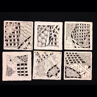 "Student tiles from last night's ""Introduction to Zentangle"" class in Windsor, Ontario - lovely!#zentangle #tangle #tangling #czt #laurelreganczt #art #classes #artclass #artclasses #draw #drawing #windsor #ontario #yqg 