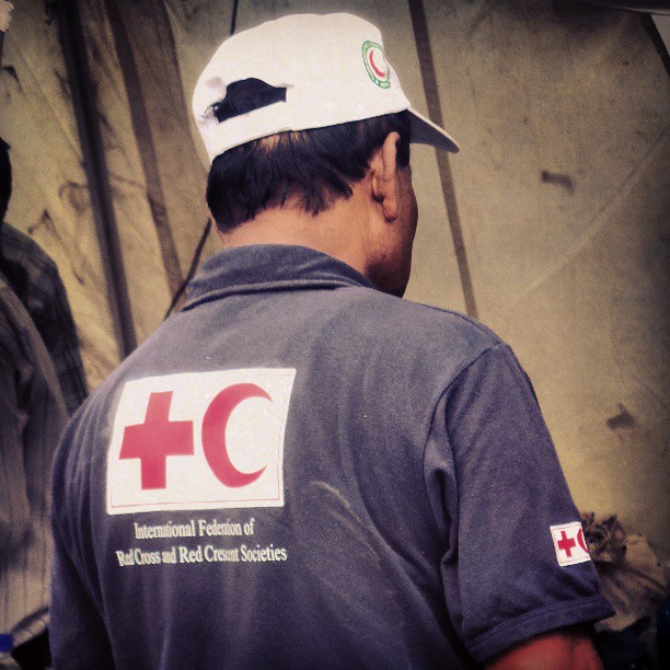 Heading home now. Nice to see the Red Cross in action here.