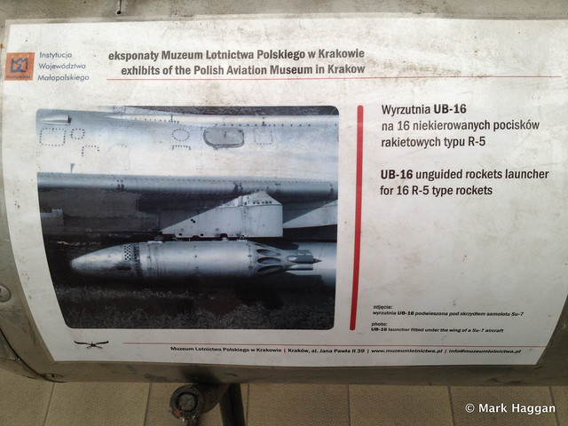 A UB-16 missile launcher from a MiG-21 at the Polish Aviation Museum in Krakow