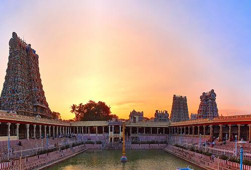 trees sunset india water temple pond god hindu madurai tamilnadu gopuram meenakshiamman muthukumar yesmkphotography
