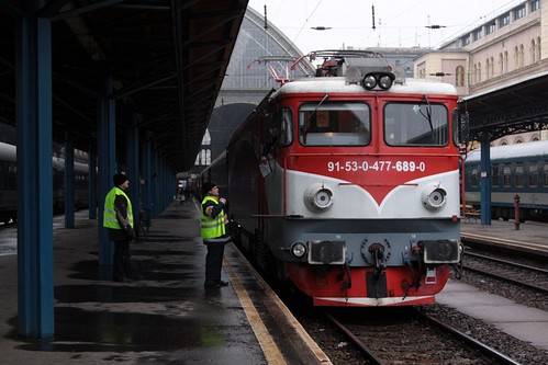 CFR supplied locomotive ready to lead our train east from Budapest to Romania