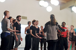 Students practice with The Martha Graham Dance Company during the Company's residency in 2011