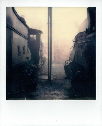 polaroid sx70 instant film photo photography sx 70 b class steam locomotive shed style darjeeling himylaian himalayan railway dhrs tour rail train station loco misty moody camera 040 tank engine view kurseong silhouette 604 mountaineer
