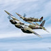 Flying Heritage & Combat Armor Museum de Havilland D.H.98 Mosquito T.Mk.III and Supermarine Spitfire Mk.Vc by Hawg Wild Photography