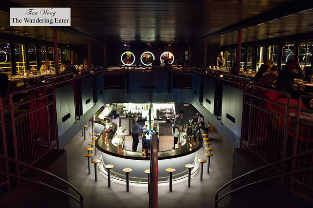 Interior when you enter the dining area of the boat