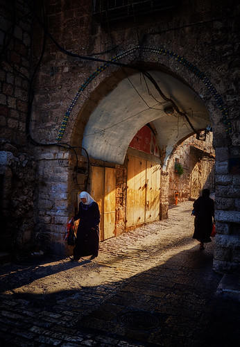 jerusalem israel arab jew archway street sunrise