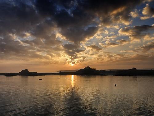 sea sun seascape castle weather set