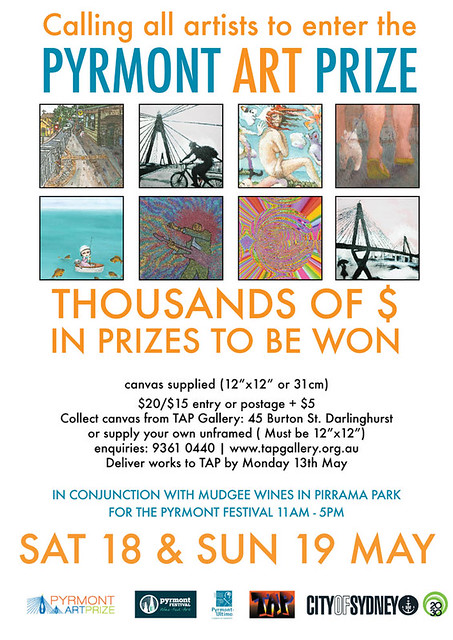 at the Pyrmont wine, food and art festival on the 18th and 19th of May 2013 (flyer from the TAP gallery)