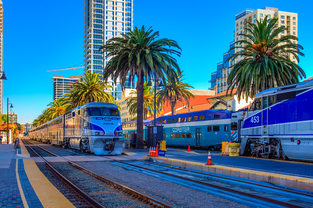 Amtrak Pacific Surfliner 562/769, Coaster 639/640 at Santa Fe Station, Downtown San Diego, HDR, 29 September 2016
