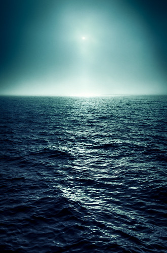 blue fog glow horizon light luminous mystical ocean sea seascape sunlight sunset water wave