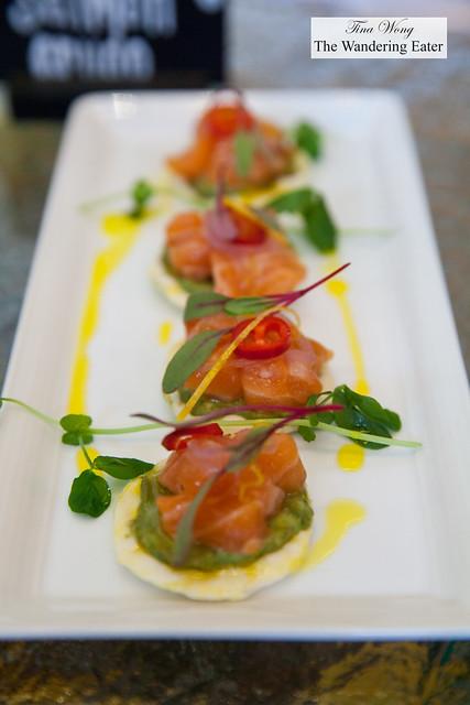 Skuna Bay salmon crudo with avocado, Meyer lemon, pickled shallot, chili, rice crisps at ACES