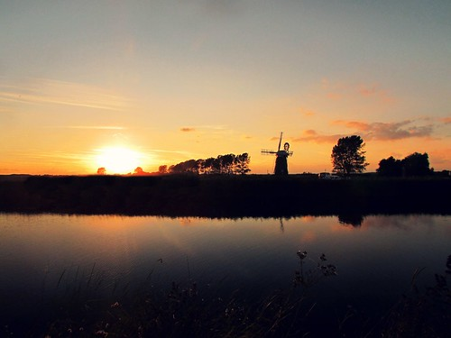 windmill national park river water reflection sunset silhouette sky outdoor landscape norfolk