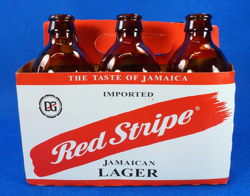 RD14201 6 Red Stripe 12 oz Brown Stubby Beer Bottles in Original 6 Pack Carton DSC05347