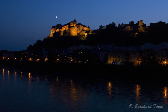 Evening mood with moon at Burghausen