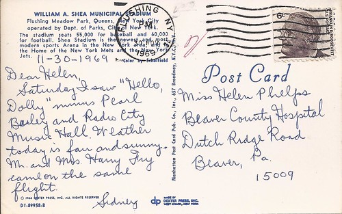 1964 Shea postcard sent 1969 | by NJ Baseball