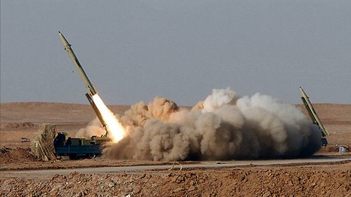 A single-stage solid-propellant, surface-to-surface Fateh (Victor) missile is launched during the Great Prophet 7 missile drill in Semnan, central Iran, July 3, 2012. | by Asitimes