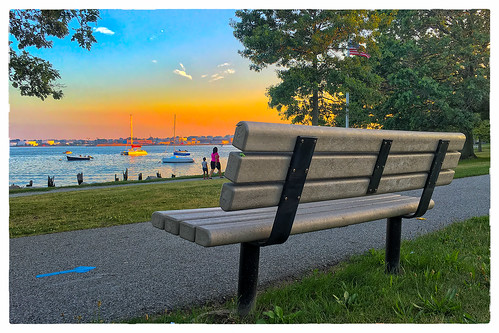 sunset large bench people 0716 boats 2016 monday providence rhodeisland unitedstates us