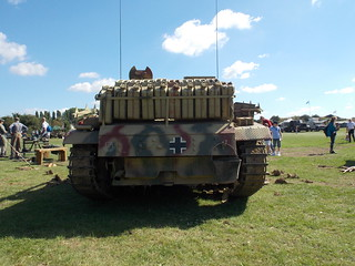 GERMAN  TANK WITH JERRY CANS FOR PETROL, WATER AT DAMYNS HALL MILITARY AND CAR SHOW IN AN EAST LONDON BOROUGH SUBURB STREET PARK VENUE  ESSEX ENGLAND 06-08-2016 DSCN1323