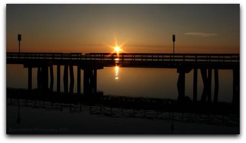 morning bridge sky sun lake sol water sunrise reflections river pier michigan wyandotte downriver