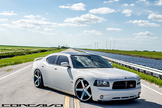 "Dodge Charger lowered on 22"" CW-5 Matte Black Machined Face 