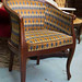 Dark wood mixed fabric chair â¬60