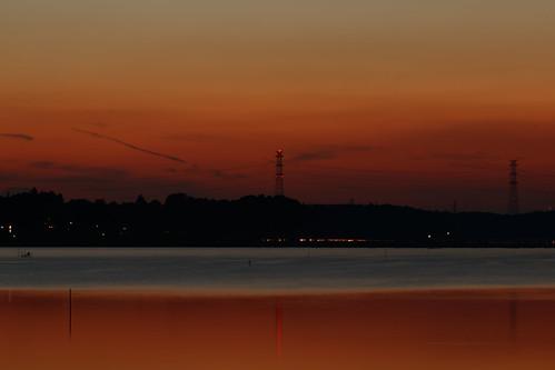 jp 日本 千葉 佐倉 印旛沼 沼 夕日 夕焼け japan chiba sakura inbanuma inbanumamarsh marsh sunset red