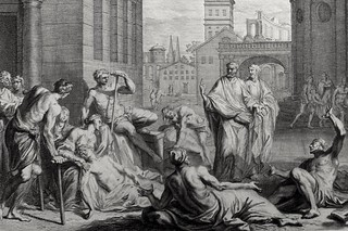 Luke in the Phillip Medhurst Collection 602 The sick are brought into the street Acts 5:15 Mortier's Bible