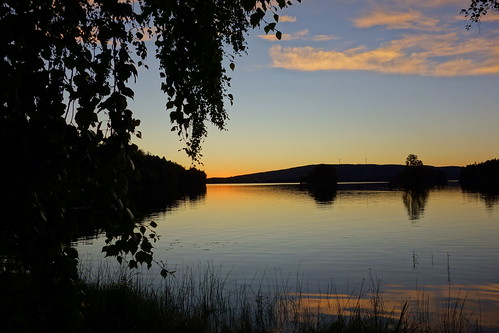outdoor waterscape dusk evening sunset serene calm water lake sky trees landscape colourful